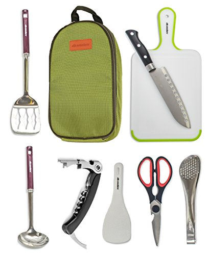Camp Kitchen Utensil Organizer Travel Set Portable 8