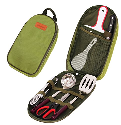 Camp kitchen utensil organizer travel set portable 8 for Kitchen set portable