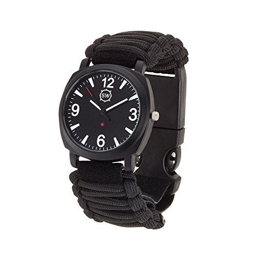 Survival watch v3 ultimate emergency survival gear features military grade paracord compass for Military grade watches