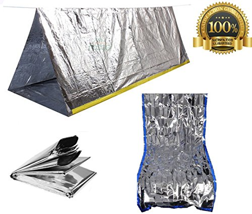 Sportsman Emergency Tent And Sleeping Bag Kit This Mylar