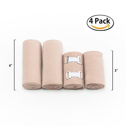Premium Elastic Bandage Wrap 4 Pack 4 Extra Clips Durable